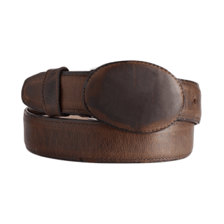 ESTAMPIDA Western Leather Belt – Moka/Brandy