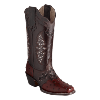 ESTAMPIDA  Women´s Boots, Cognag/Brown - Ostrich Print