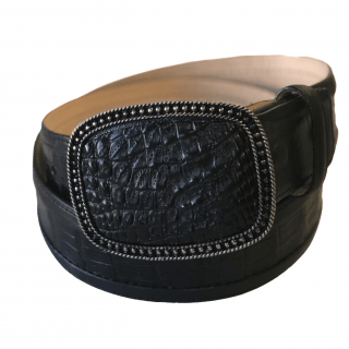 ESTAMPIDA Exotic Leather Belt – Black Alligator