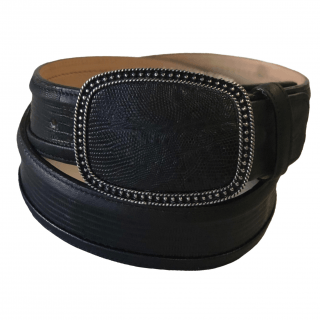 ESTAMPIDA Exotic Leather Belt – Black Lizard
