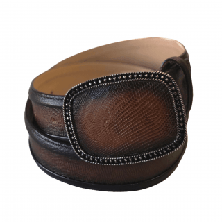 ESTAMPIDA Exotic Leather Belt – Honey Lizard