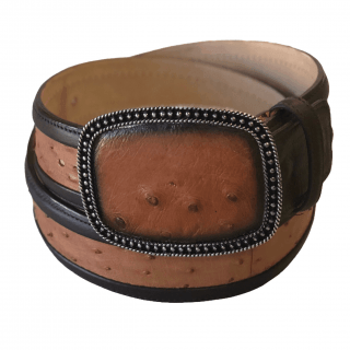 ESTAMPIDA Exotic Leather Belt – Honey Ostrich