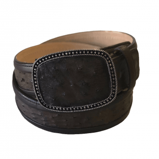 ESTAMPIDA Exotic Leather Belt – Brown  Ostrich