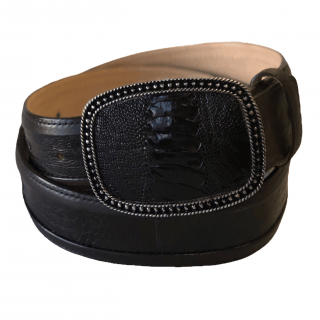 ESTAMPIDA Exotic Leather Belt – Brown Ostrich Leg