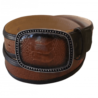 ESTAMPIDA Exotic Leather Belt - Honey Ostrich Leg