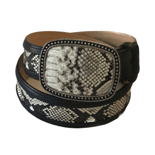 ESTAMPIDA Exotic Leather Belt – Natural Python