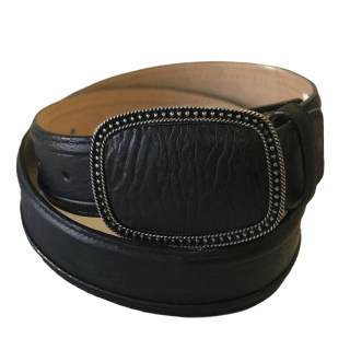 ESTAMPIDA Exotic Leather Belt – Black Shark