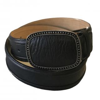 ESTAMPIDA Exotic Leather Belt – Black Shark