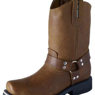 ESTAMPIDA Men´s Work Boots–Distressed Harness, Square Toe–Honey