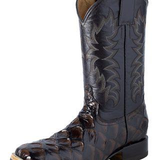 ESTAMPIDA Men´s Western Boots, Brown-Pirarucu Fish Print