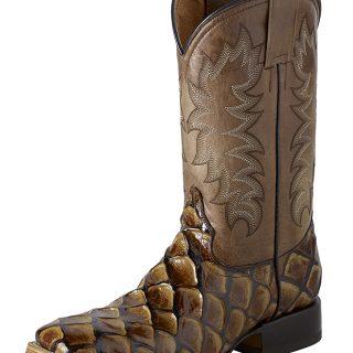 ESTAMPIDA Men´s Western Boots, Honey - Pirarucu Fish Print