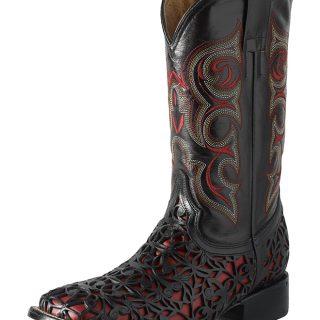 ESTAMPIDA Men´s Western Boots, Black/Red