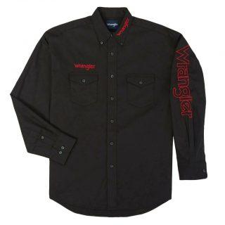 WRANGLER Mens Shirt, Logo Black & Red Letter