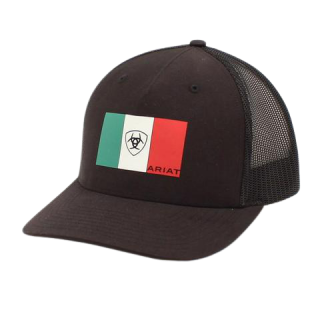 ARIAT - Black Cap with Mexican Flag Patch.  FREE SHIPPING